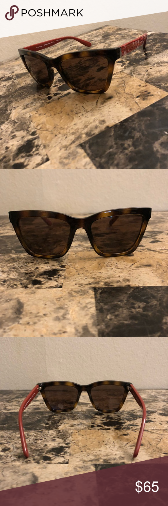 08ac67f91af3f ... ireland coach 8208 545973 brown solid square sunglasses coach womens  hc8208 545973 55 brown solid plastic