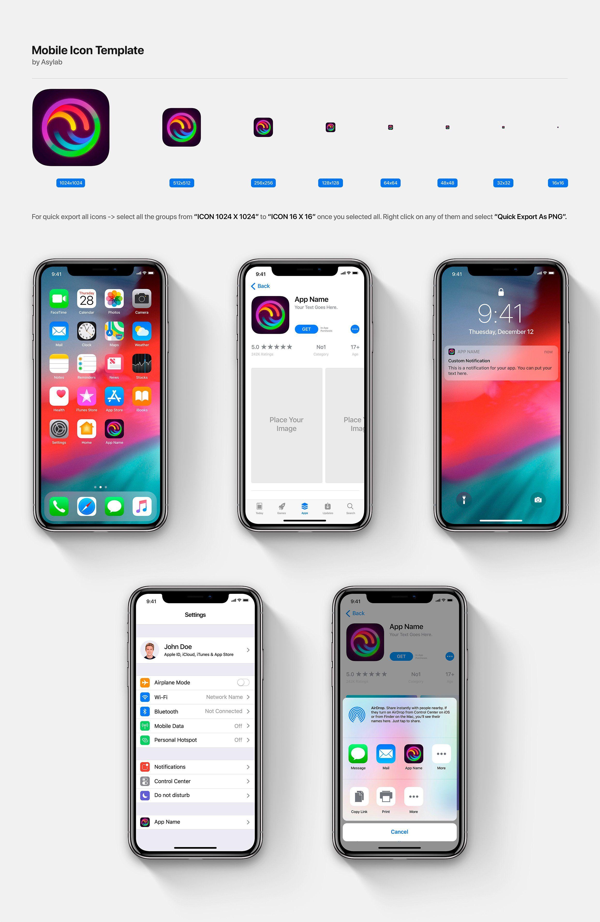 Desktop Os Mobiie Icon Template Ios Icon Themes For Mobile Ios App Icon Design