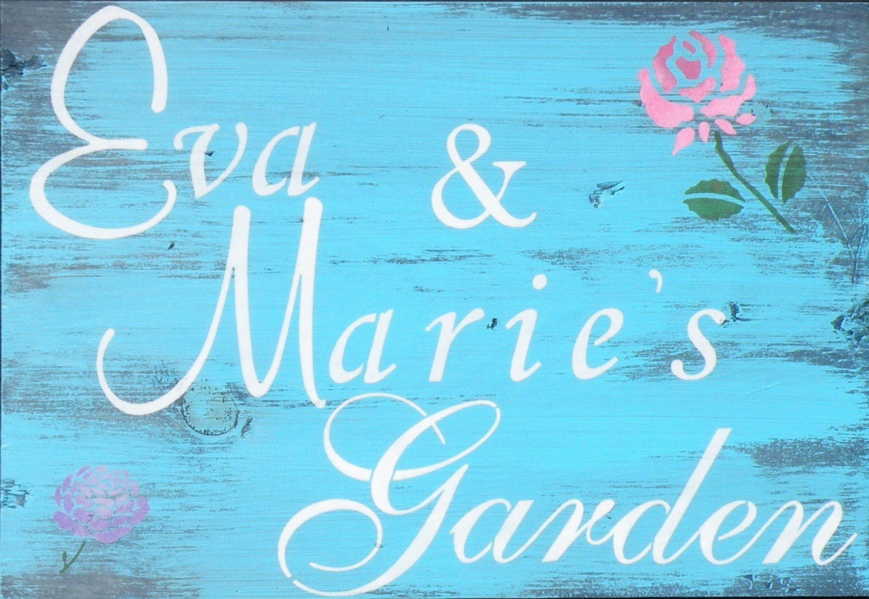Personalized Garden Sign, Rustic Custom Name Cottage Garden Painting, Distressed Turquoise Wood Rose Garden Sign, Floral Garden Name On Sign is part of Rustic Rose garden - characters that will fit on the sign varies with the length of your personalized info and the text style used  Text lettering (font) style, size and case are subject to change from that in sample sign  Colors and finished look may vary due to the custom nature of this product, variations in wood characteristics, lighting and computer screen settings  Distress marks, wood grain and stain color are unique to each wood sign  Thanks for visiting Ethel's Barn!