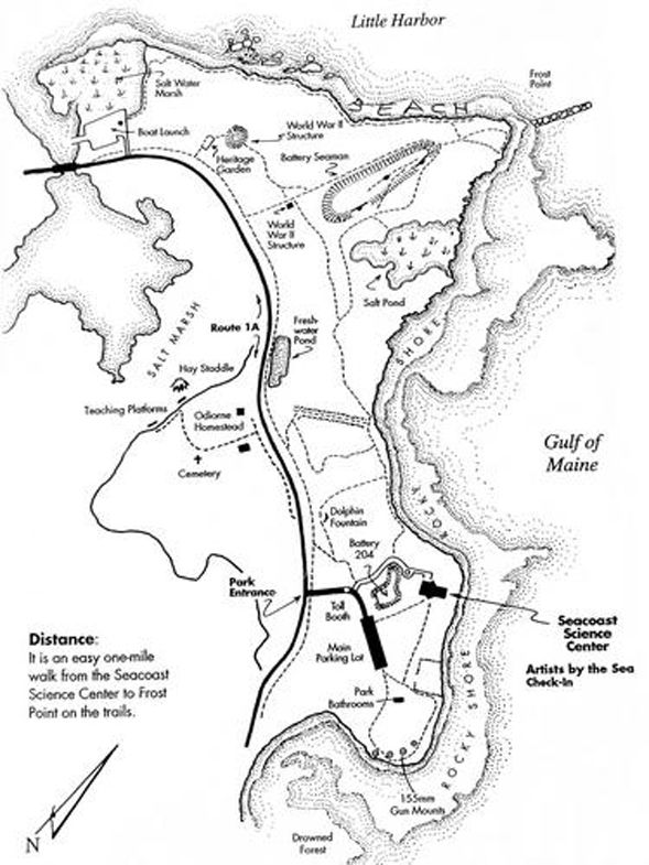 Trail Map Of Hiking Trails And Features Of Odiorne Point State Park Map Courtesy Of Odiorne Point State Park State Parks Hiking Tours Walking In Nature