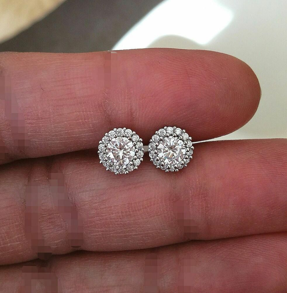 1ct Diamond Halo Stud Earrings Brilliant Round Diamond Earring 14k White Gold Fn Giftjewelry2 Halo Earrings Studs Round Diamond Earrings Halo Diamond Earrings