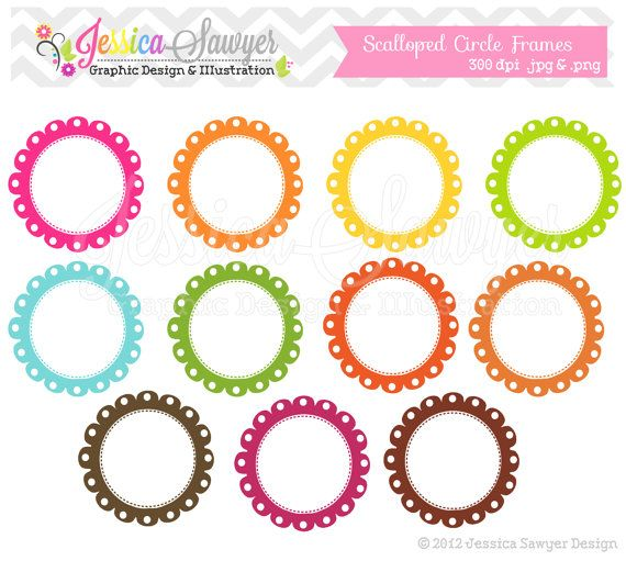 instant download scalloped stitch frames digital frame lace frame circle frame commercial use card making digital sc