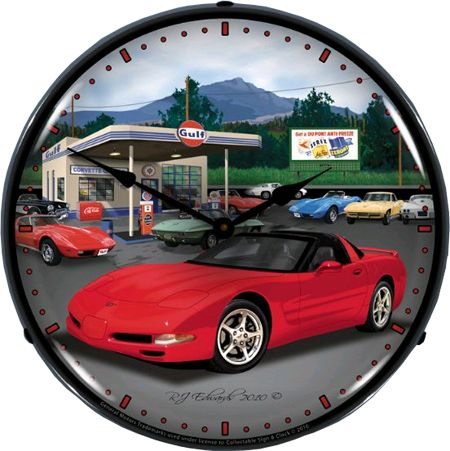 C5 Corvette Wall Clock Chevy Mall Corvette Clock Vette Wall Clock Light