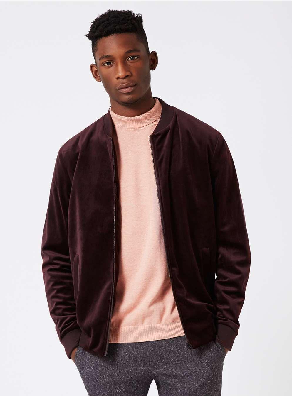 burgundy velvet smart bomber jacket - men's coats & jackets - clothing
