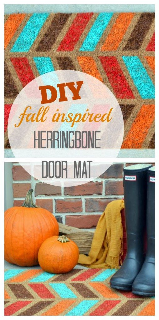 Create this easy Fall inspired herringbone door mat on a budget. Love the pattern and fall colors for this craft. An easy tutorial that will make for some pretty seasonal decor.