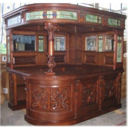 Antique Covered English Corner L Shaped Home Bar
