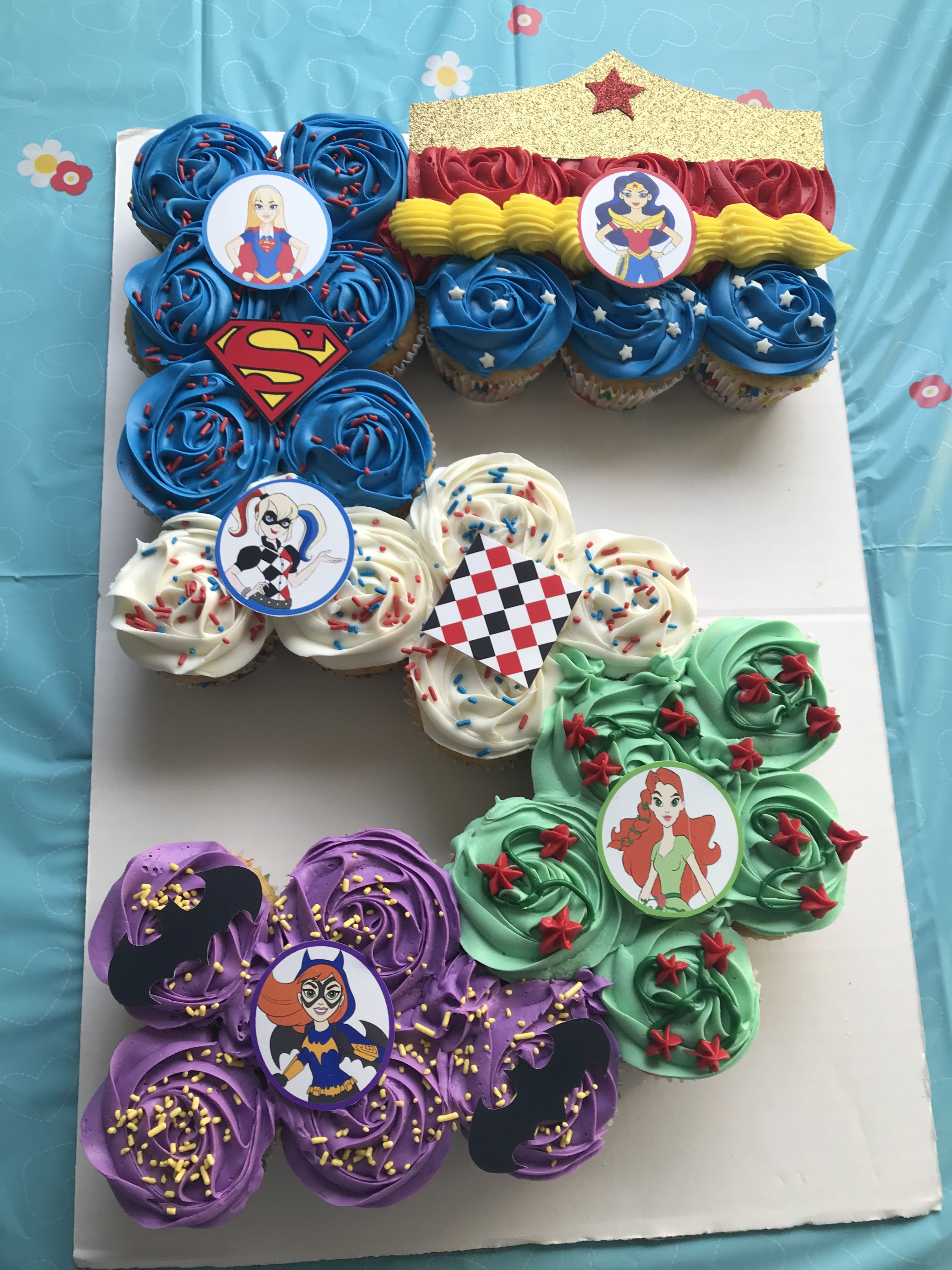 Fantastic Supergirls Pull Apart Cupcake Cake Girl Superhero Birthday Party Funny Birthday Cards Online Aeocydamsfinfo