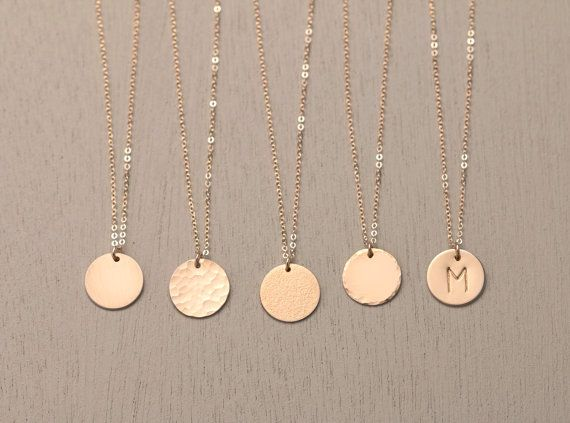 Ultimate Disk Necklace / Circle Necklace Personalized Pendant Monogram Engraved…
