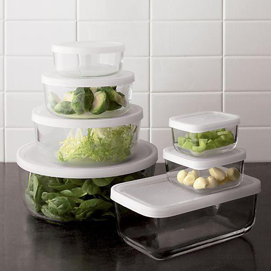 3-Piece Rectangular Storage Container Set in Food Storage | Crate and Barrel & 3-Piece Rectangular Storage Container Set - Crate and Barrel ...