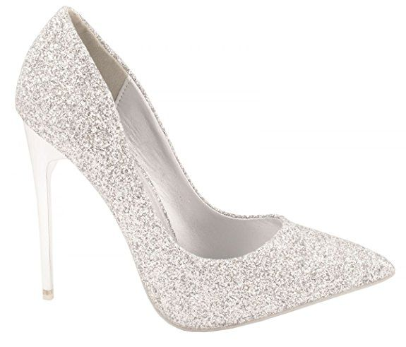 elara damen pumps bequeme glitzer high heels party hochzeit gr e 36 farbe silber. Black Bedroom Furniture Sets. Home Design Ideas