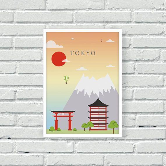 Tokyo Vector Wall Print, Japan Wall Art, World Capitals Print, Red ...