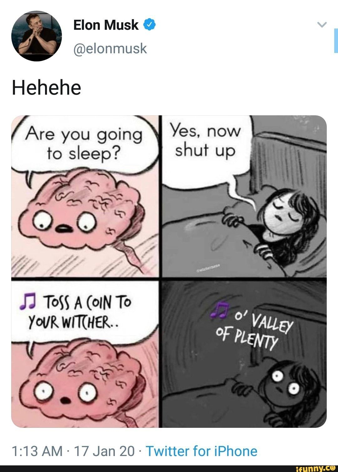 Hehehe (Are you going to sleep? YOUR WITCHER.. Twitter for iPhone - )