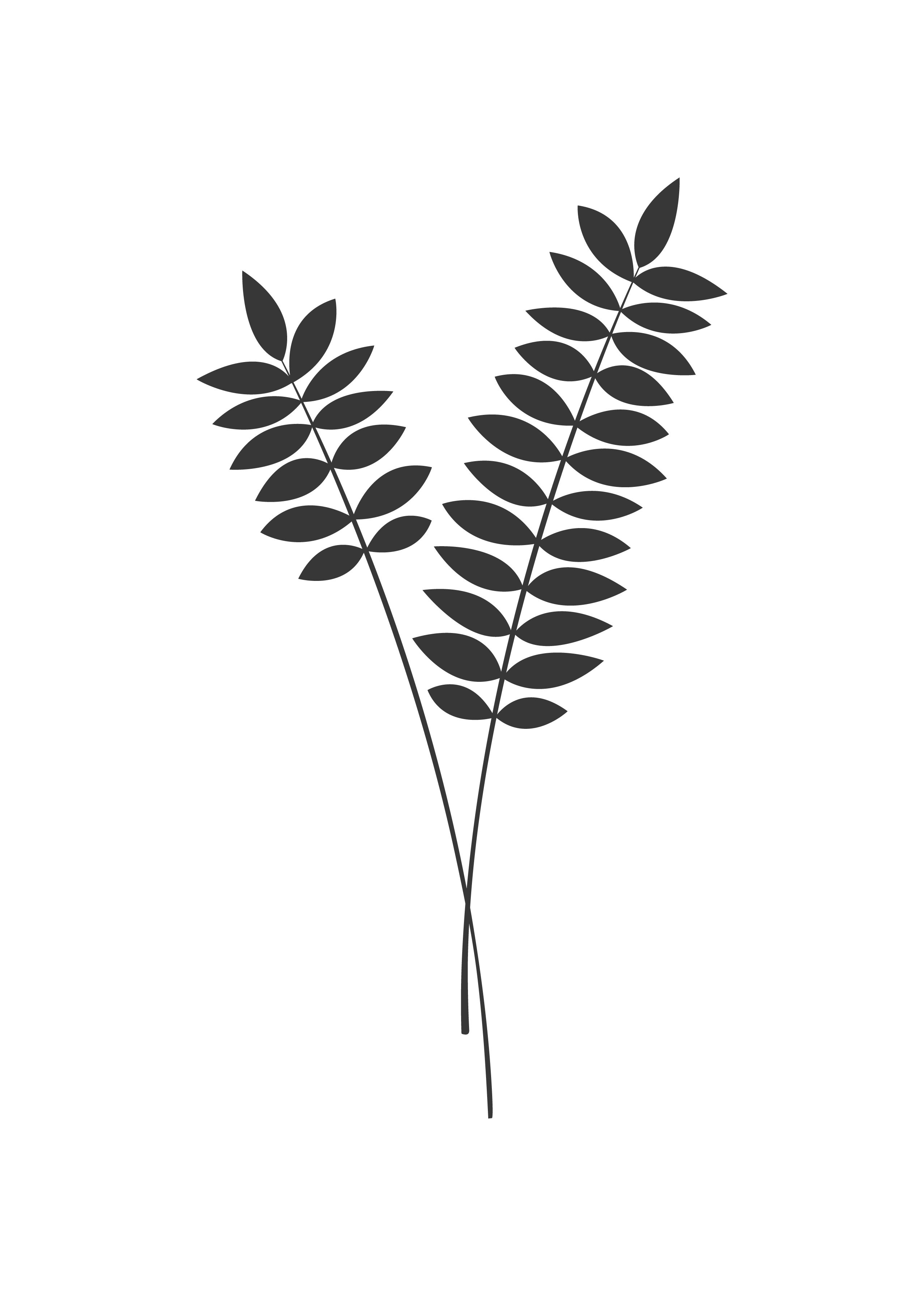 Wall Art Print With Leaves In Black And White Printable Poster Scandinavian Design