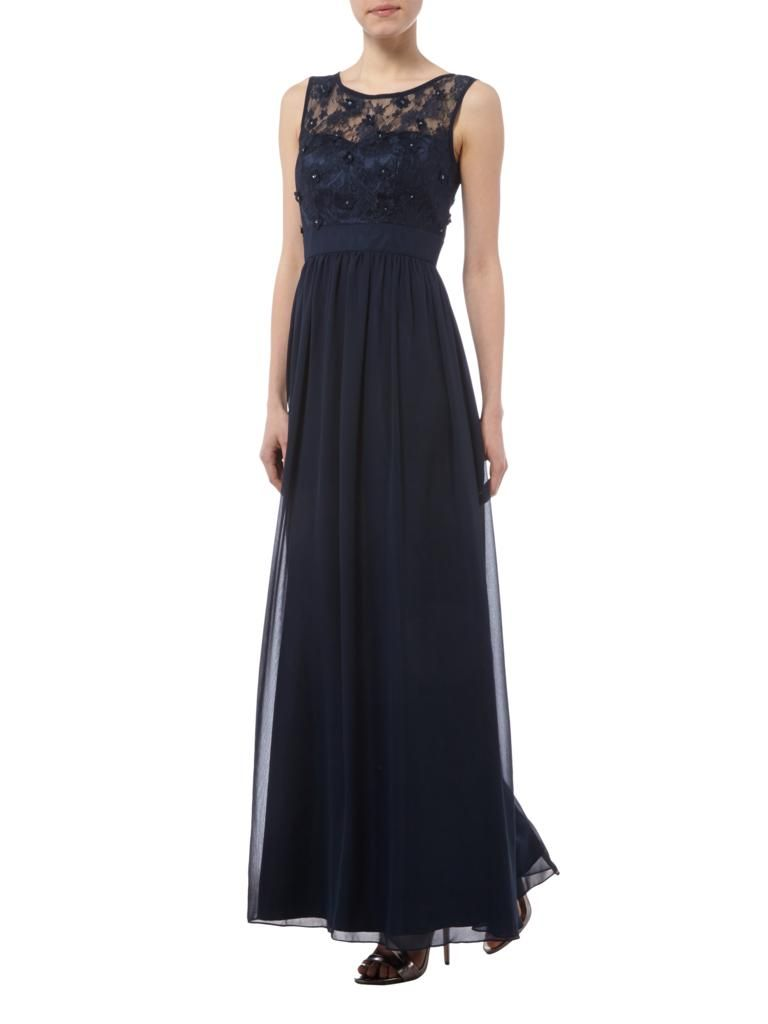 LAONA Abendkleid mit Oberteil aus floraler Spitze in Blau / Türkis