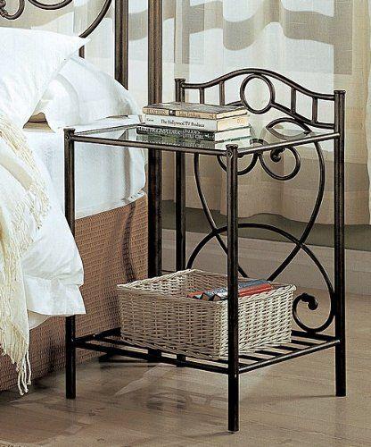 Black Finish Metal And Glass Nightstand Furniture Metal Nightstand Home Decor