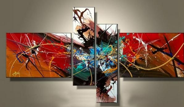 100% hand painted canvas abstract oil painting multi panel canvas