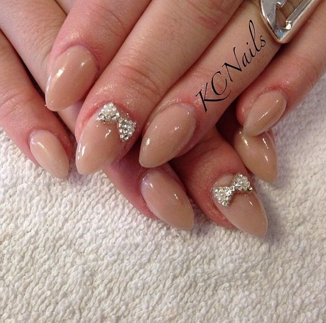 Sweet and Simple. Taupe (nude/tan) solid acrylic nails. Almond ...