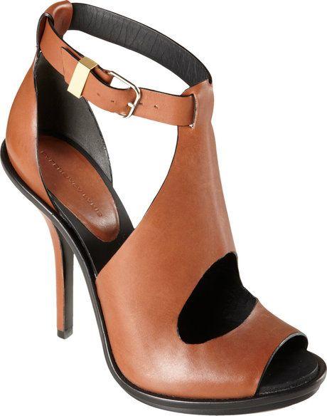 Balenciaga Cutout Glove Sandal In Brown White Lyst Heels Shoe Boots Shoes