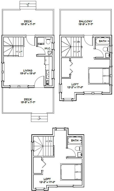 16x16 Tiny House 2 Bedroom 697 Sqft Pdf Floor Plan Model 20 Tiny House Floor Plans Garage House Plans Tiny House Plans