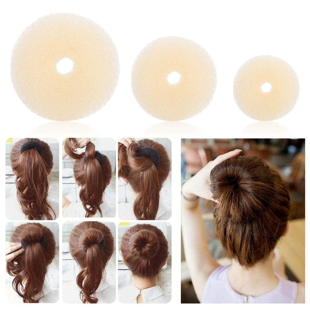 Donut For Bun Hair Styling Tool 3pcs Hair Donuts Ring Style Big Medium Small Style Bun With Donut For Hair Hairdressin Hair Donut Black And Blonde Hair Tools