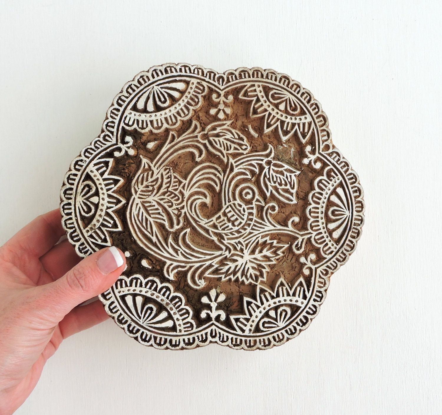 Large Bird Stamp: Scalloped Flower Stamp, Hand Carved Wood Stamp, Indian Printing Block, Wooden Craft Textile or Clay Stamp, India Decor by DelhiDaze on Etsy