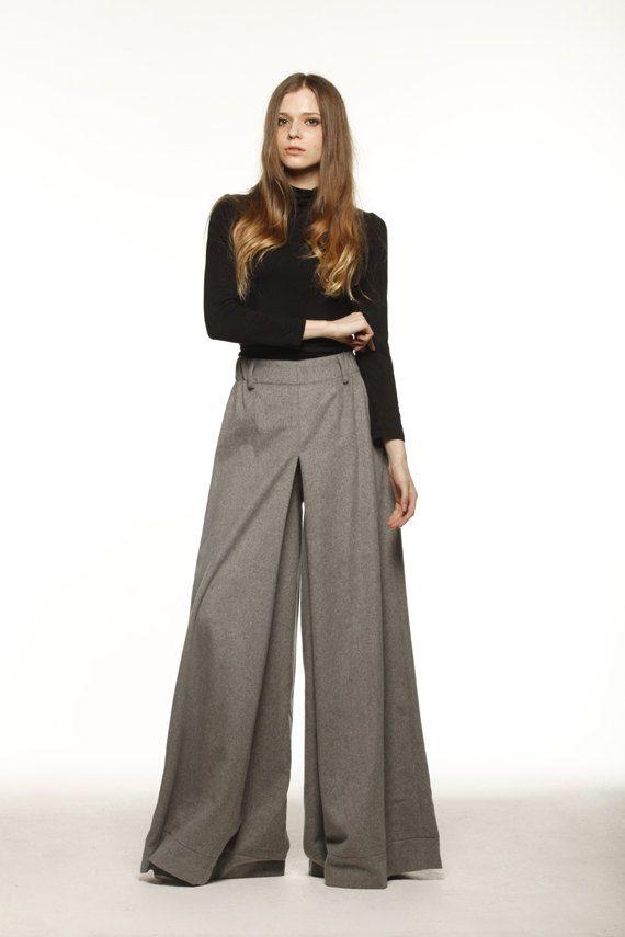 Casual Elastic Waist Wide leg Long Skirt Pants in Grey - NC477 ...