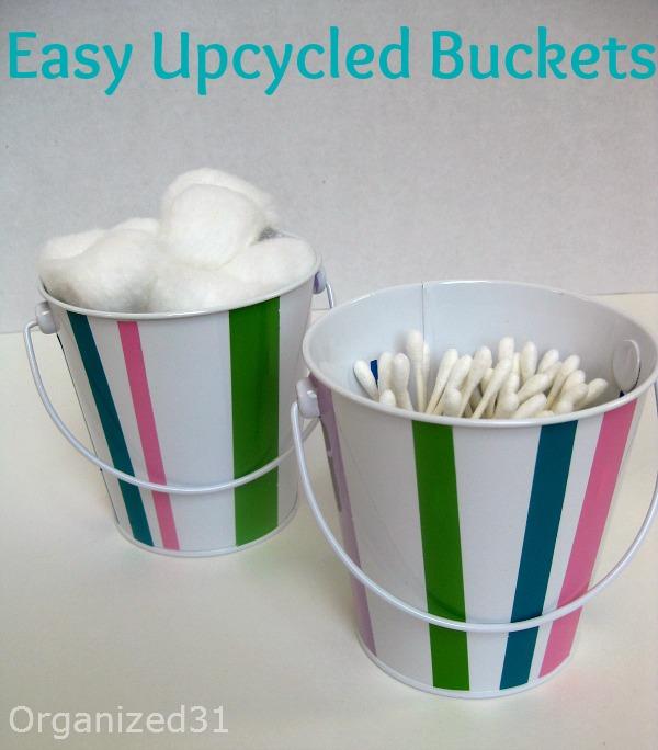 Easy Upcycled Bucket For Bathroom Organization Bathroom Organization Fun Bathroom Decor Organization