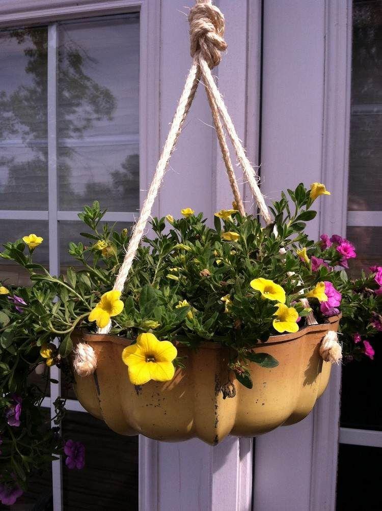 blumenampel aus einer alten keksform | bastelarbeiten | pinterest ... - Upcycling Ideen Garten