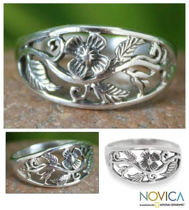 Novica Sterling silver band ring, Arabesque - Unique Sterling Silver Band Ring from Thailand
