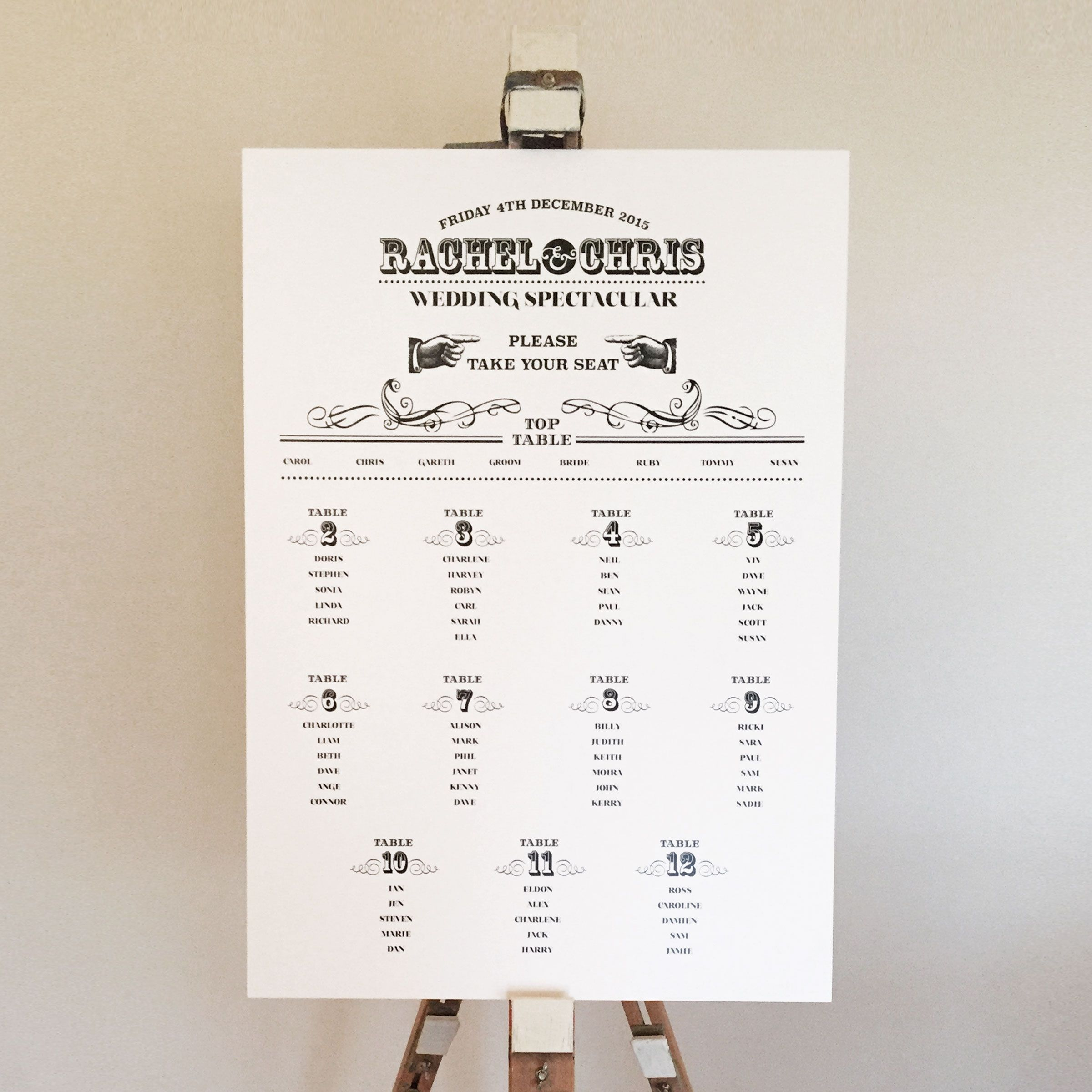 A wedding seating plan in a vintage style displayed on easel