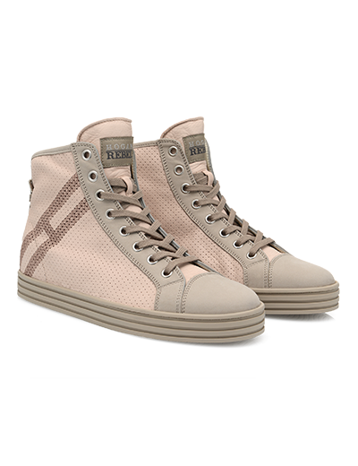 #HOGANREBEL Women's Spring - Summer 2013 #collection: perforated nubuck leather High-Top #sneakers R182.