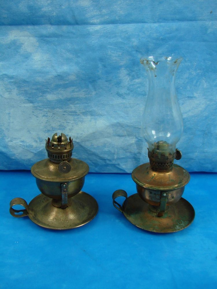 Pair Vintage Miniature Oil Lamp Brass Copper Tone Hong Kong #103 Stellar