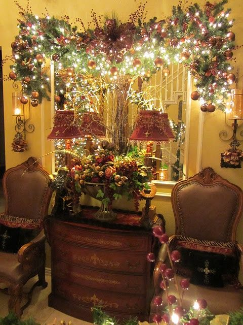 Christmas Decorating Ideas I Love The Sprays Of Branches Tying