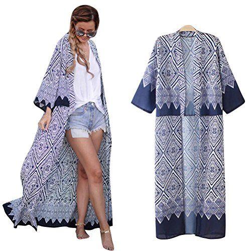 acec46ecc8e27c Cardigan Long Femme, Cardigan Bleu, Women s Kimono Cardigan, Blouse, Sexy  Bikini,
