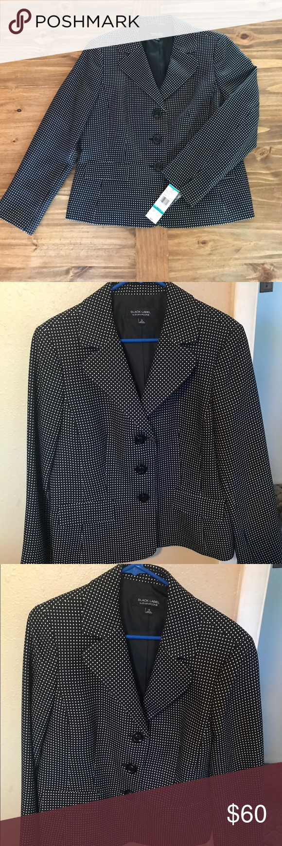 53e7289572 NWT  Black Label black blazer w  white dots Sz 16 Never worn