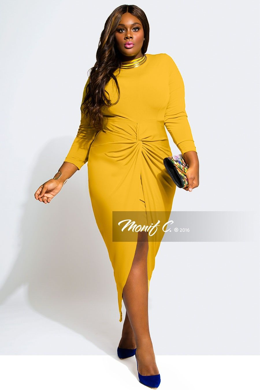 monifcplussizes GIGI Knotted Dress -Mustard   Frock It ...