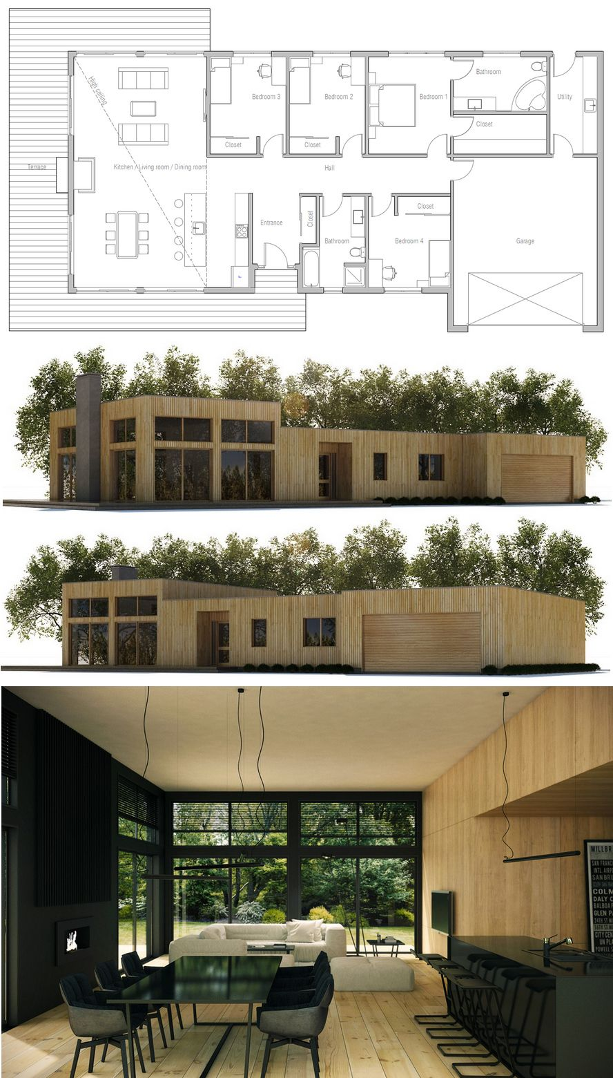 Take out bedroom 3 and make the living area larger modern house plans small house