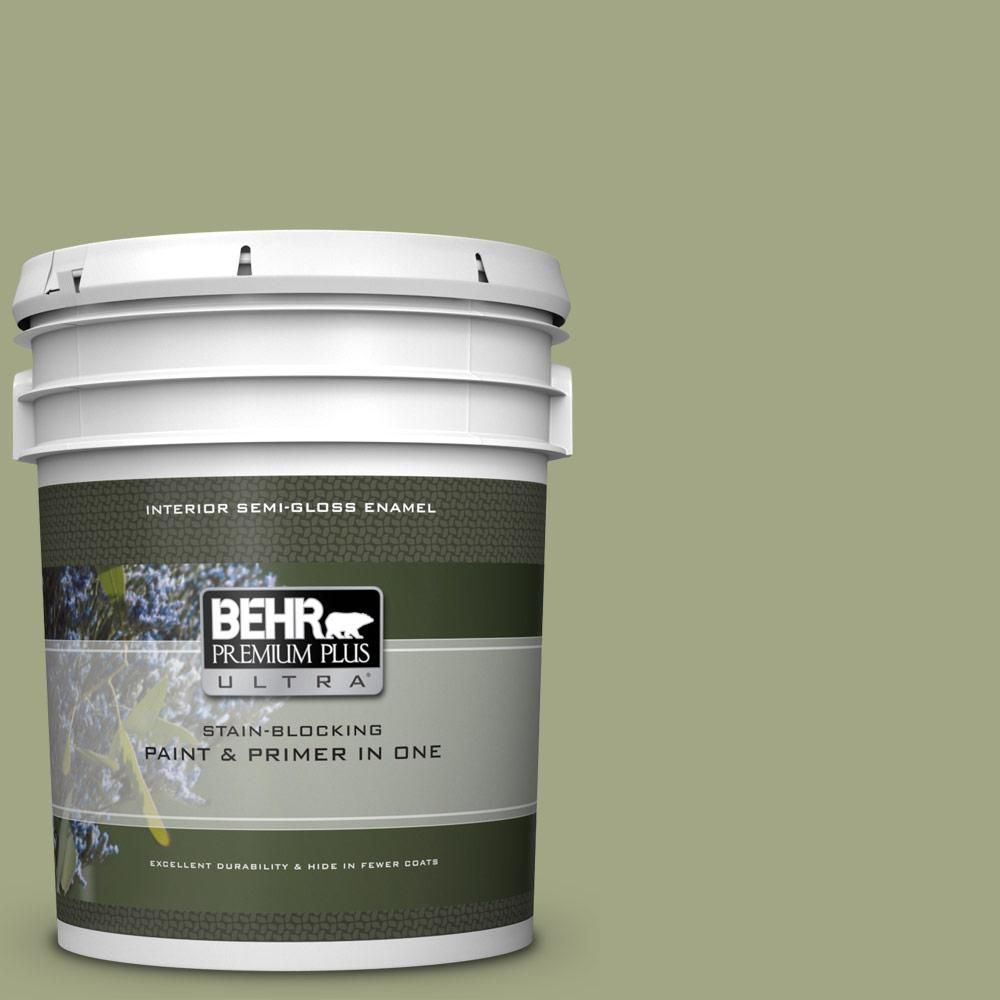 Behr Ultra 5 Gal S370 4 Rejuvenation Extra Durable Semi Gloss Enamel Interior Paint Primer 375405 The Home Depot Behr Premium Plus Ultra Interior Paint Exterior Paint