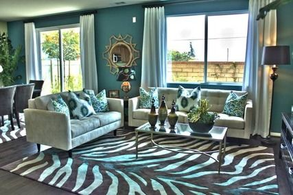 High Contrast Interior Design Teal Zebra Animal Prints Transitional Interior Design Teal Rooms Interior