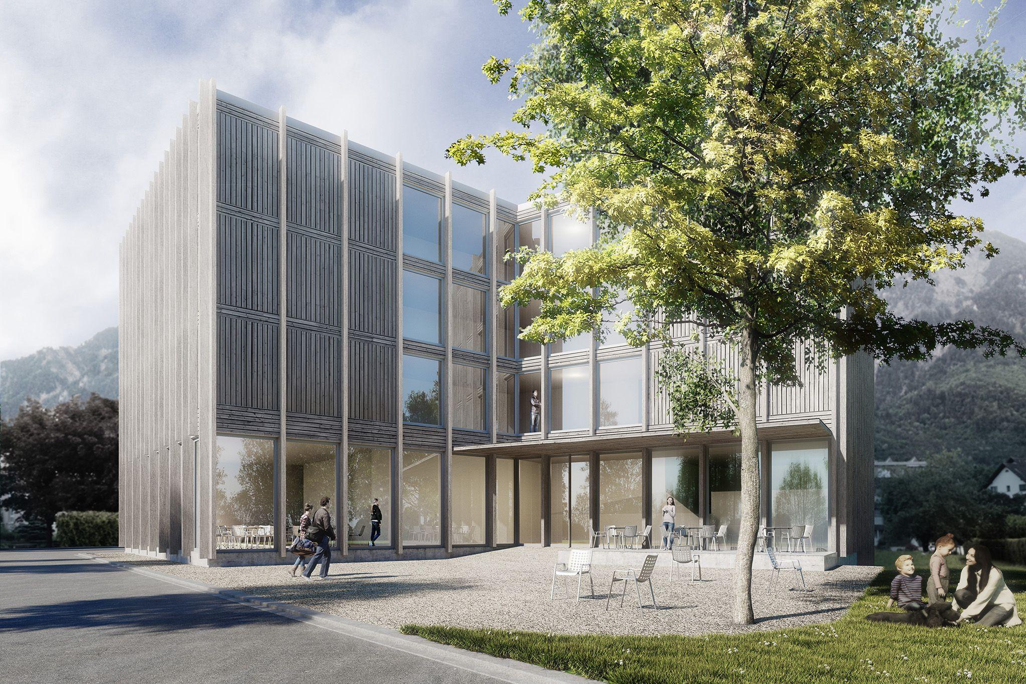 Wettbewerb Jugendherberge Schaan Aschwanden Schurer Architekten Visualisierung Architron Visualisierung Architektur Architekt