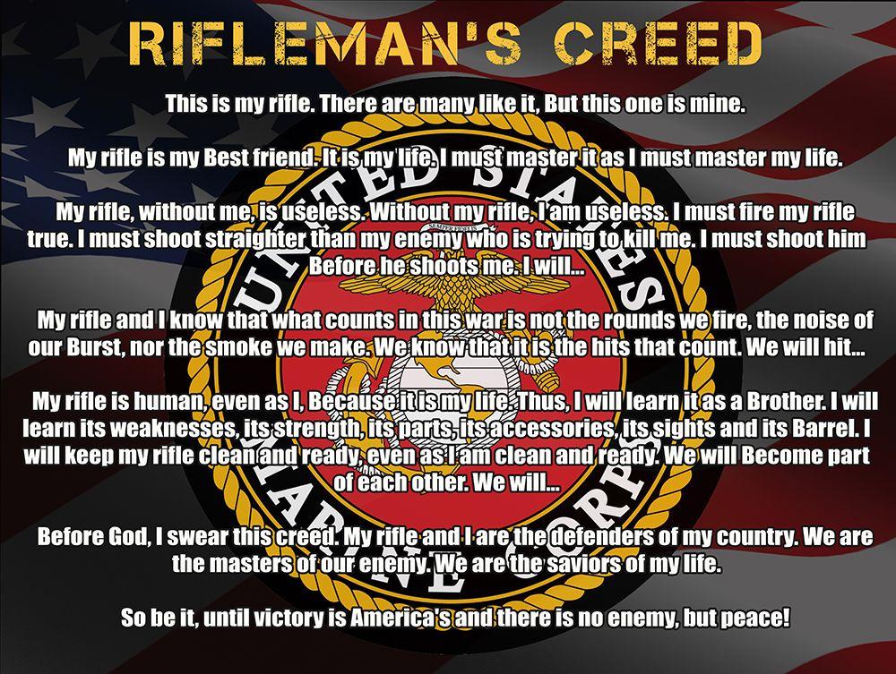 USMC Marines Rifleman's Creed poster   Marines   Pinterest ...