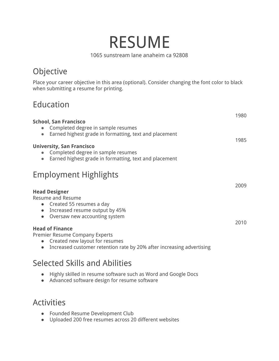 Keep It Simple First Job Resume Job Resume Format Simple Resume Examples