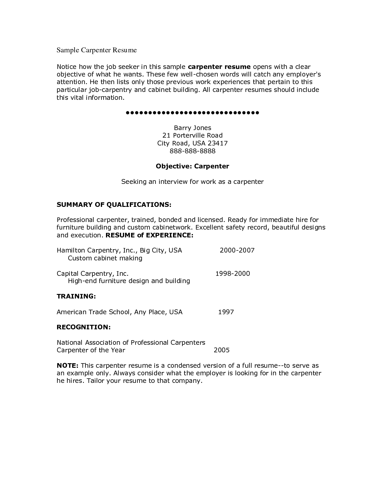 Construction Carpenter Resume Templatesrpenter Job Description For Writing Sample