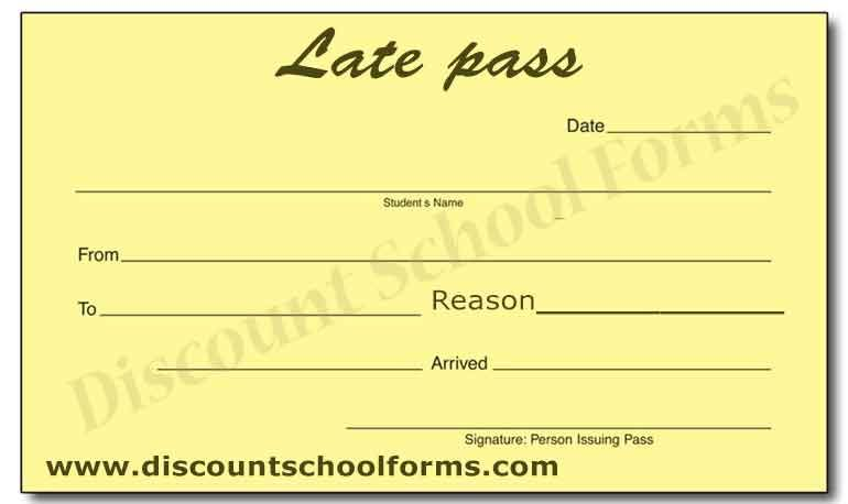 Free Printable Late Pass Template Late Homework Pass Template Order Online At Discountschoolforms Com Http W Fun Summer Activities Student Sample Resume