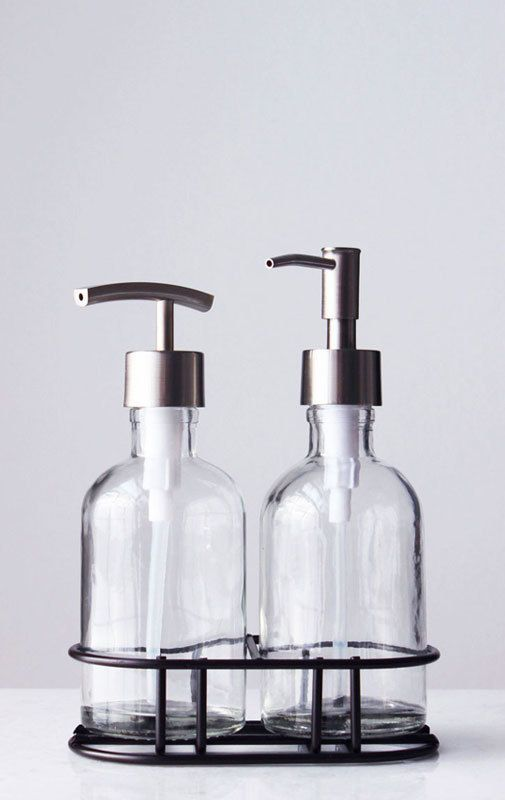 Peachy Perfect Pair Glass Clear Soap Dispenser Set With Metal Caddy Theyellowbook Wood Chair Design Ideas Theyellowbookinfo