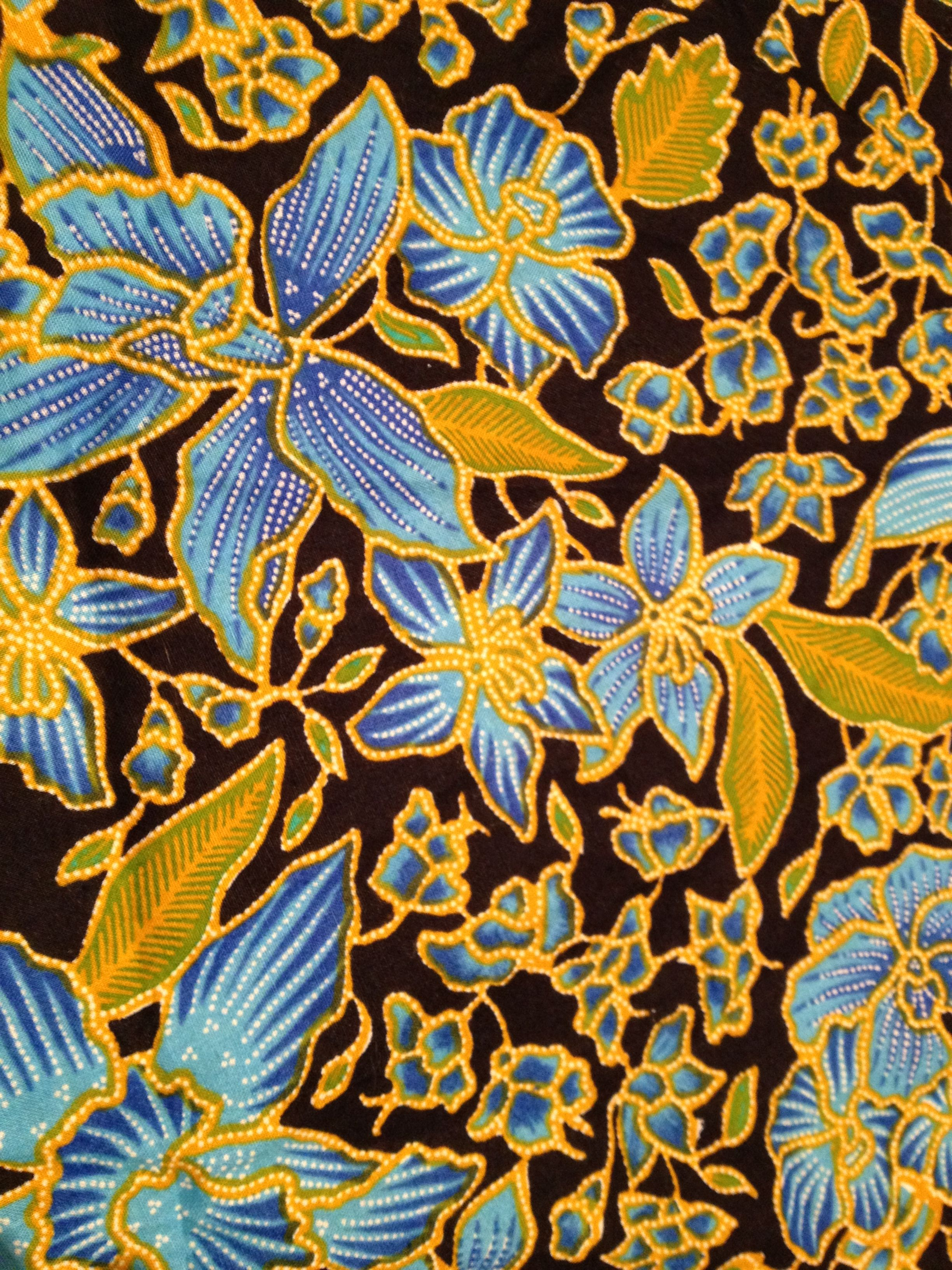 BonEful FABRIC FQ Cotton Quilt VTG Blue Gold Paisley Flower Ethnic Indian Print