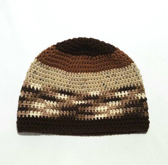 Men's Crochet Brown Striped Beanie - Adult (22-24) - Men's chocolate Brown Beanie - Skull Cap - Men's Crochet Hat - Men's Accessories #menscrochetedhats