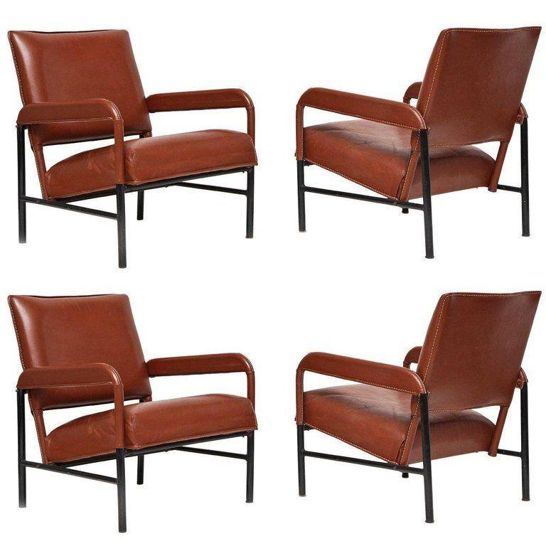 Set Of Four Leather Armchairs France C 1955 Armchair Modern
