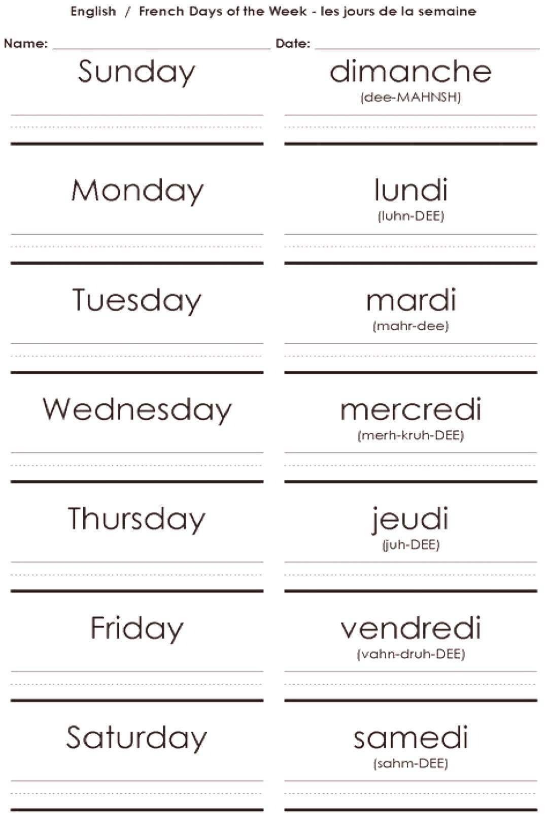 Worksheets French Days Week The Of French Days Of