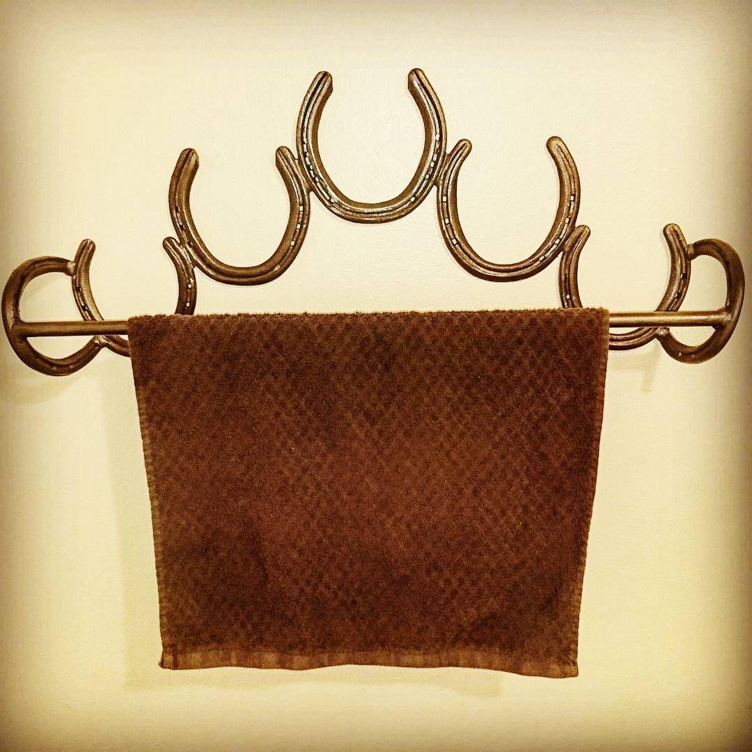 Rustic Horseshoe Towel Rack made by me, Rachel Bohnet at Country Custom Fabricating